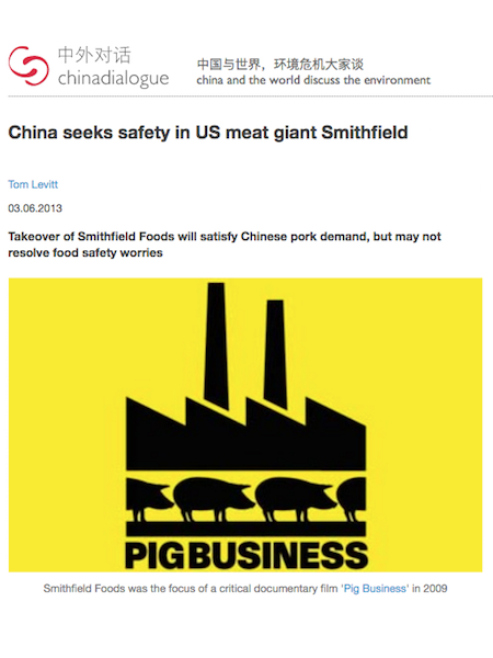 Mia MacDonald Quoted in China Dialogue Article on Smithfield